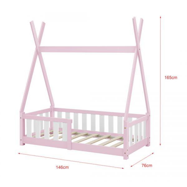 Pat copii cu saltea spuma rece Cristal, 70x140 cm, lemn de brad, roz, -5