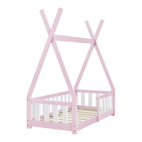 Pat copii cu saltea spuma rece Cristal, 70x140 cm, lemn de brad, roz, -6