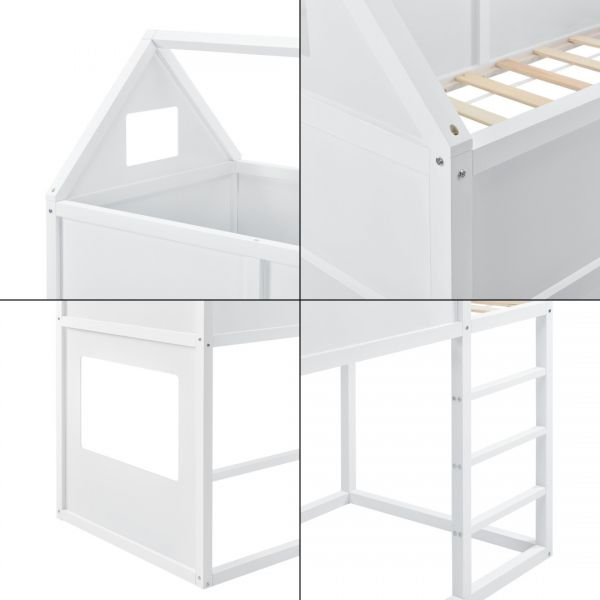 Pat copii etajat Arya White, 209 x 99 x 175 cm, lemn, alb mat lacuit,c-2
