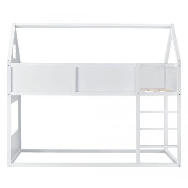 Pat copii etajat Arya White, 209 x 99 x 175 cm, lemn, alb mat lacuit,c-4