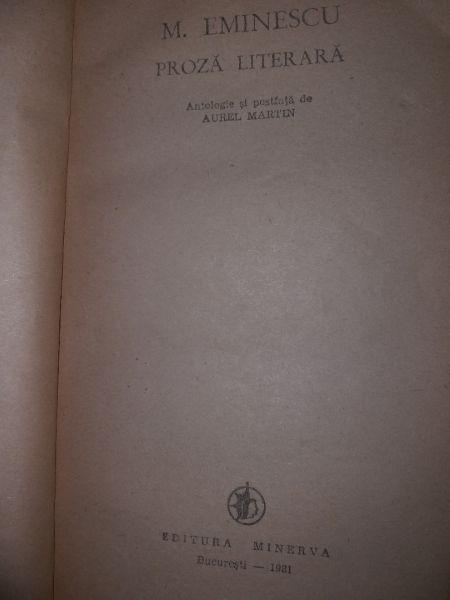 Proza literara - M. Eminescu (edit. Minerva),1981-2