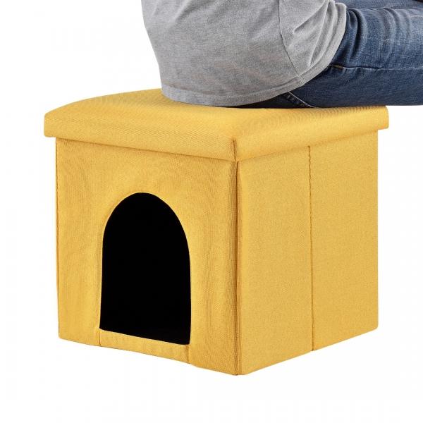 Puff si vizuina pentru animalele mici 38x38cm galben-2