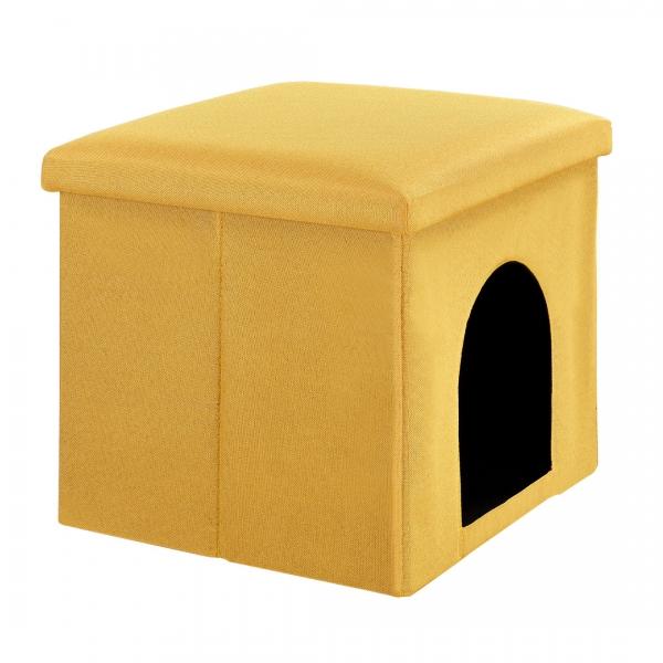 Puff si vizuina pentru animalele mici 38x38cm galben-4