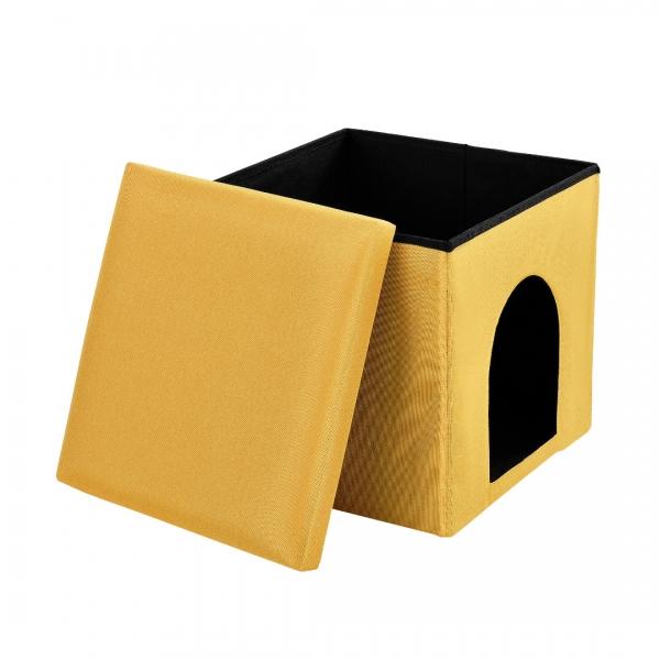 Puff si vizuina pentru animalele mici 38x38cm galben-5