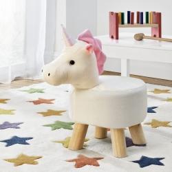 Scaun taburet pentru copii Pingo, model Unicorn, 45 x 28 x 48 cm