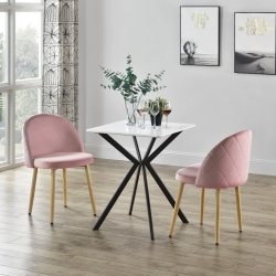Set 2 bucati scaune design Carmina Rosa, 76 x 44 cm, textil/metal, roz