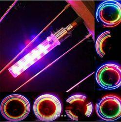 Set 2 LEDURI 5 moduri lumini mari multicolore, pentru ventil la bicicl