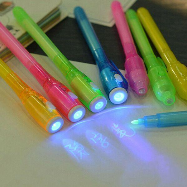Set 2 pixuri markere scris invizibil, lanterna pentru vederea scrisulu-1