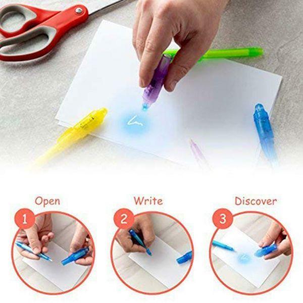 Set 2 pixuri markere scris invizibil, lanterna pentru vederea scrisulu-4