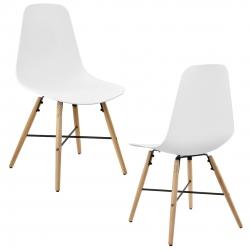 Set 2 scaune design - 85,5 x 46 cm, forma sezut scoica - alb