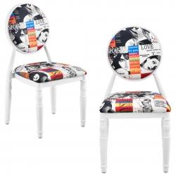 Set 2 scaune design vintage - alb / cu model