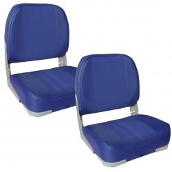 Set 2 scaune Magelan 1, 490 x 400 x 390 mm, imitatie piele, albastru