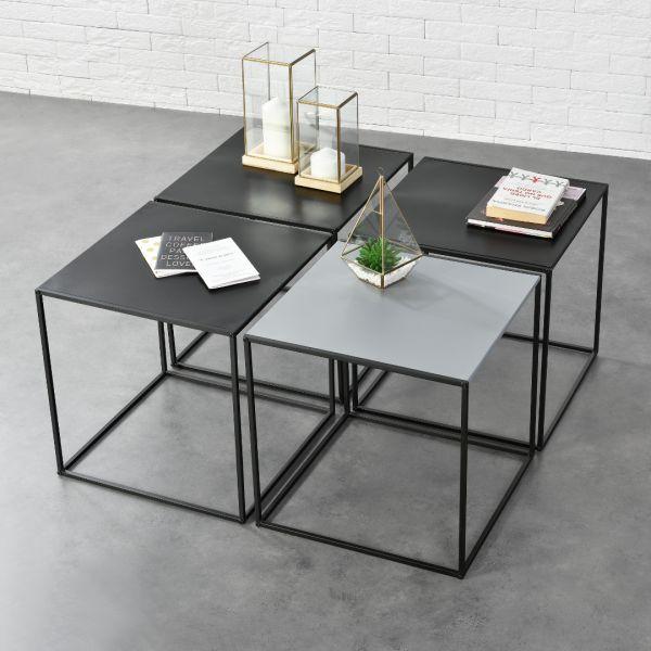 Set 4 bucati masuta cafea Quadro, 45 x 45 x 45 cm, metal, negru/gri-1