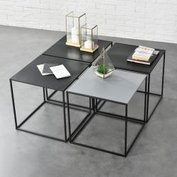 Set 4 bucati masuta cafea Quadro, 45 x 45 x 45 cm, metal, negru/gri