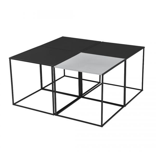 Set 4 bucati masuta cafea Quadro, 45 x 45 x 45 cm, metal, negru/gri-2