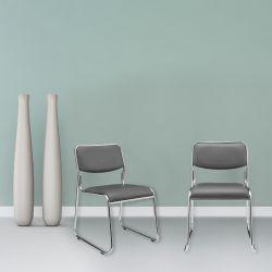 Set 4 bucati scaun birou, conferinta,77 x 51 cm, piele sintetica, gri