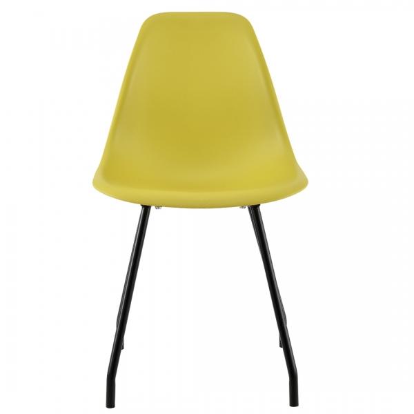 Set 6 scaune bucatarie, en.casa, 83 x 46 cm, plastic PP, galben-mustar-2