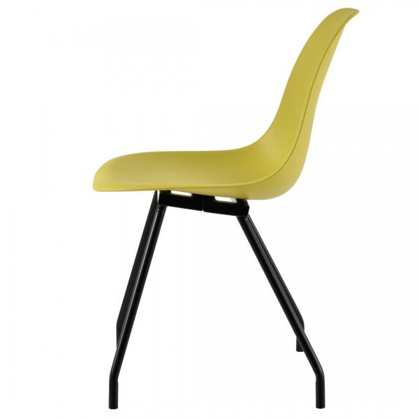 Set 6 scaune bucatarie, en.casa, 83 x 46 cm, plastic PP, galben-mustar-3