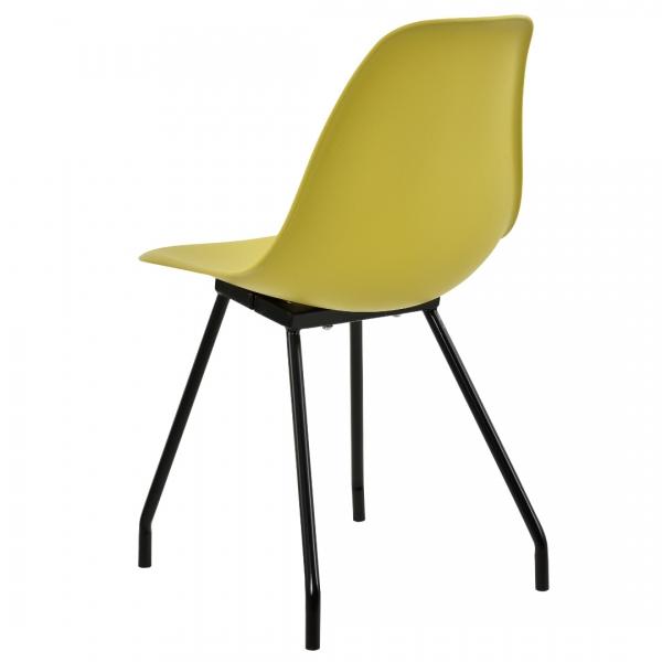 Set 6 scaune bucatarie, en.casa, 83 x 46 cm, plastic PP, galben-mustar-4