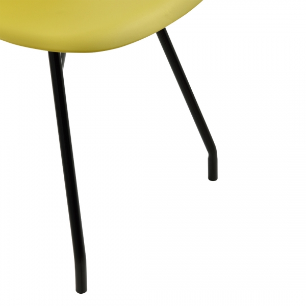 Set 6 scaune bucatarie, en.casa, 83 x 46 cm, plastic PP, galben-mustar-6