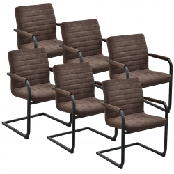 Set 6 scaune bucatarie, en.casa, 86 x 60 cm, piele sintetica
