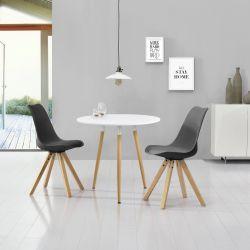 Set Camille 2 masa cu 2 scaune, MDF/imitatie piele, alb/gri