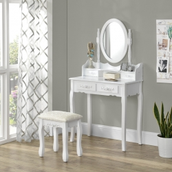 Set Diva masa de toaleta/machiaj cu oglinda si scaun