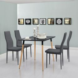Set Stela masa cu 4 bucati scaune, metal/imitatie piele, gri