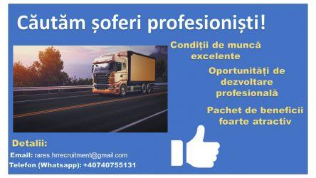 Soferi profesionisti -  2400 EURO / LUNA.  INCEPERE IMEDIATA!