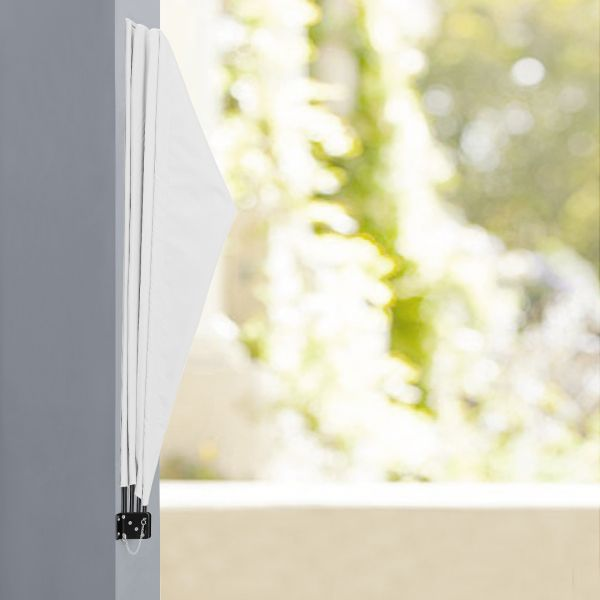 Umbrela de soare montabila pe perete - Paravan solar de perete alb-2